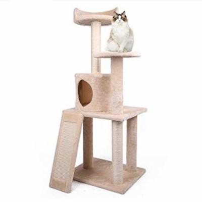 キャットタワー 猫タワー 小型 据え置き型 ネコ型台座 天然サイザル麻紐 匂(中古品)