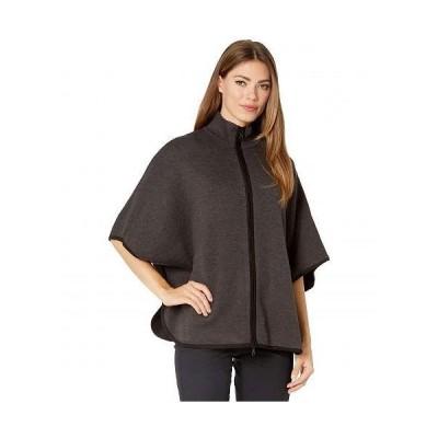 Anne Klein アン クライン レディース 女性用 ファッション セーター Zip Front Double Knit Cape - Heather Charcoal/Anne Klein Black