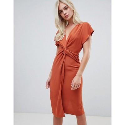 エイソス レディース  ワンピース トップス ASOS ASOS DESIGN twist midi dress with kimono sleeve