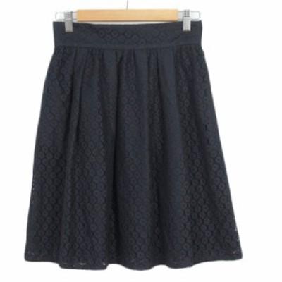 【中古】プロポーション ボディドレッシング PROPORTION BODY DRESSING スカート フレア レース 3 紺 レディース