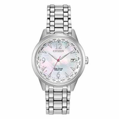 Citizen Women's World Time Perpetual Calendar Quartz Watch with Stainless Steel Strap, Silver, 17 (Model: FC8000-55D)