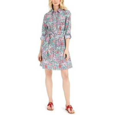 トミー ヒルフィガー レディース ワンピース トップス Cotton Mixed-Print Shirtdress Gingham Marthas Garden- Sky Captain/coralie