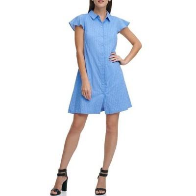 ダナ キャラン ニューヨーク レディース ワンピース トップス Cotton Button Front A-Line Dress