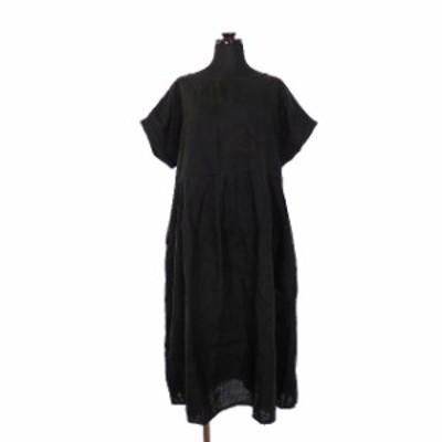 【中古】ネストローブ nest Robe リネン タックワンピース チュニック 半袖 ブラック 黒 春夏 レディース