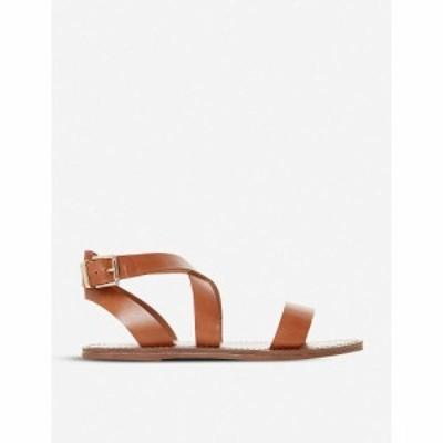 デューン DUNE レディース サンダル・ミュール シューズ・靴 Leelah cross-over strap leather sandals TAN-LEATHER