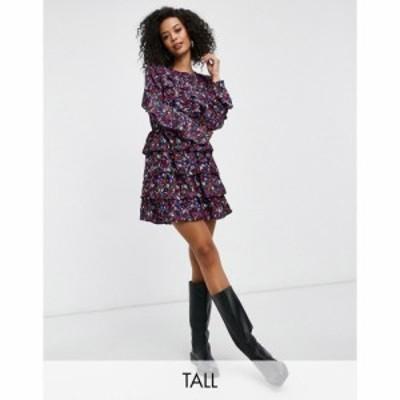 インフルエンス Influence Tall レディース ワンピース ワンピース・ドレス Frill Detail Mini Dress In Ditsy Floral Print マルチカラ