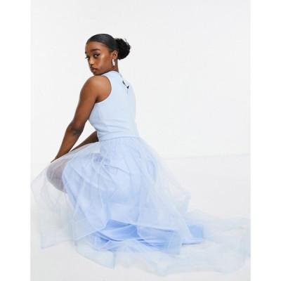 チチロンドン Chi Chi London レディース ワンピース ワンピース・ドレス high low organza dress in blue ブルー