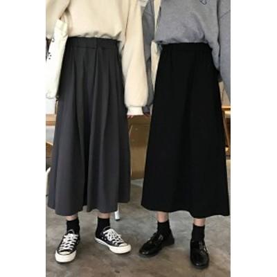 レディース トレンド 可愛い 大人 スカート シンプル カジュアル ゆったり ロング レトロ シック