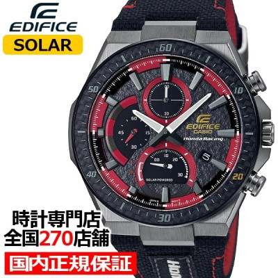 エディフィス Honda Racing コラボレーションモデル EFS-560HR-1AJR メンズ 腕時計 ソーラー クロノグラフ 革バンド ブラック レッド