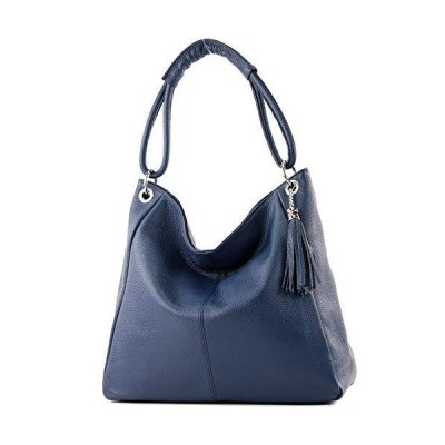modamoda de - ital. Leather Bag Shopper Ladies Bag XL A4 Shoulder Bag Leather T165, Colour:Sapphire blue 並行輸入品