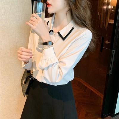 レディースブラウスオフィス長袖40代春服トップス20代無地シフォンシャツおしゃれきれいめ体型カバー大きいサイズ韓国風
