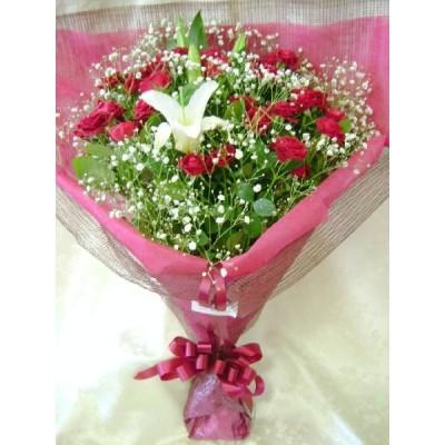 赤系花束ハピネス