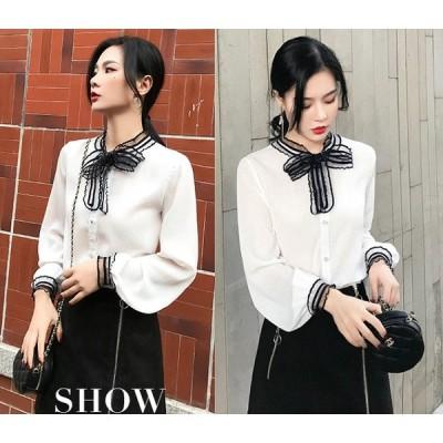 長袖シャツ ボリューム袖 チュール 切り替え シフォン リボン付き 大きいサイズ