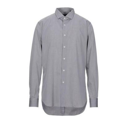 LAB. PAL ZILERI ストライプ柄シャツ  メンズファッション  トップス  シャツ、カジュアルシャツ  長袖 グレー