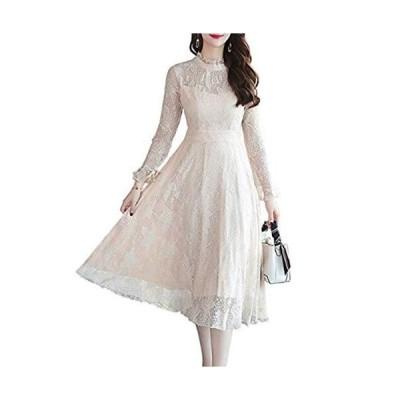 ワンピース 長袖 花柄 レース 結婚式 ドレス レディース パーティ 裏地あり 通勤 お呼ばれ 二次会 フレア 披露宴 ピンク ホワイト ブ