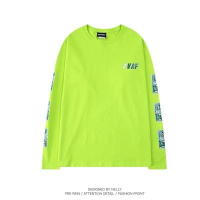 ロングT-shirts ロンティー 蛍光色 ストリート系