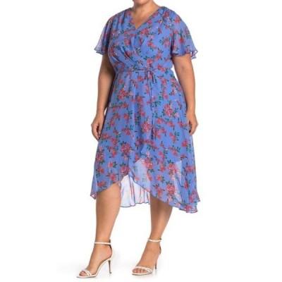 ヴィンスカムート レディース ワンピース トップス Printed Chiffon Wrap Dress (Plus Size) PERIWINKLE