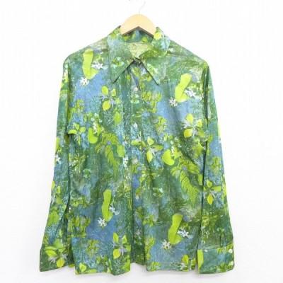 古着 レディース 長袖 シャツ 70s 花 葉 全面プリント 緑他 グリーン 20nov02 中古 ブラウス トップス