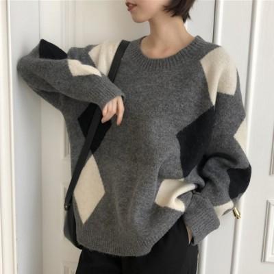 定番シンプル 韓国系 フェミニン 配色 幾何模様 ラウンドネック 長袖 ニット セーター ファッション カジュアル