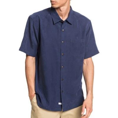 クイックシルバー シャツ トップス メンズ Quiksilver Men's Waterman Kelpies Bay Short Sleeve Button Up Shirt NavyIris