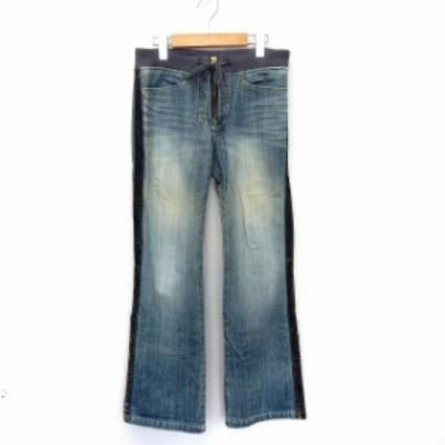 【中古】ローズバッド ROSE BUD パンツ デニム ロング ストレート サイドベロア ウエストゴム 1 ブルー /ST47