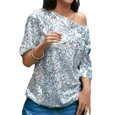 レディース 衣類 トップス Women's Bling Sequin Top Sparkle Glitter Tank Club Party T-Shirt Casual Blouse ブラウス&シャツ