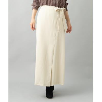 【綺麗見えするのにストレスフリー】ラップ風Aラインロングスカート