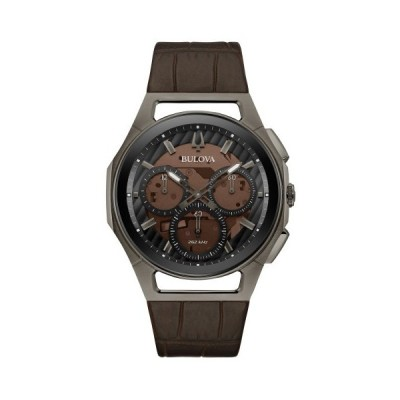 BULOVA 98A231 ブローバ メンズ クロノグラフ ウォッチ 時計 ハイパフォーマンスクォーツ スケルトン ブラウン レザーベルト