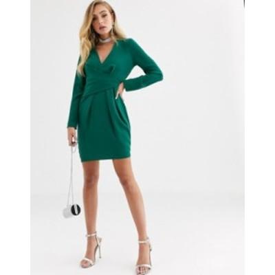 エイソス レディース ワンピース トップス ASOS DESIGN v neck drape front mini dress Evergreen