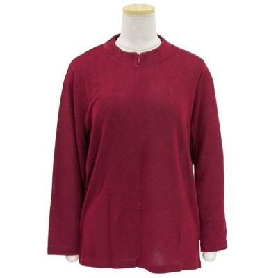 レディース 服 ロングファスナー ストレッチ スタンド衿 カットソー シャツ お年寄り 春 秋 小さいサイズ 大きいサイズ 介護 母の日 敬老の日