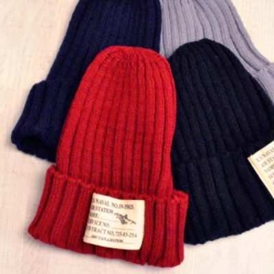 送料無料 大きめタグ付リブ編みニット帽 帽子 ワッチ ラベル付き ワッペン付き レディース メンズ 男女兼用