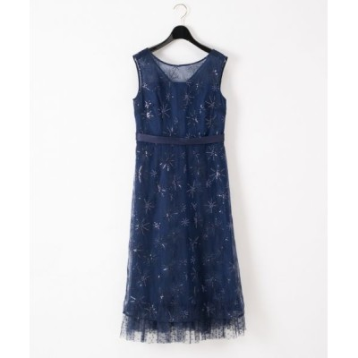 GRACE CONTINENTAL/グレースコンチネンタル ラメスパン刺繍ドレス ネイビー 36