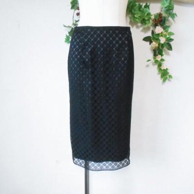 美品 コムサ デ モード COMME CA DU MODE 春夏 向き 透かし柄 スカート 黒 日本製 M
