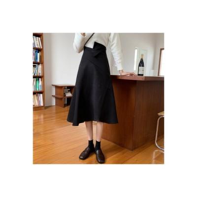 【送料無料】~ 秋冬 韓国風 不規則な 裾 何でも似合う ハイウエスト クロス スカート 女 | 346770_A64069-7552112