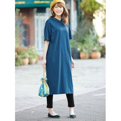 【大きいサイズ】 2点セット(UVカット綿100%半袖カットソーワンピース+リブレギンス) ワンピース, plus size dress