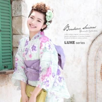 浴衣セット レディース レトロ 浴衣セット 大人 3点セット 水色 ブルー 白 紫 椿 なでしこ 花 縞 ストライプ ラメ 綿 兵児帯 女性 ボヌー
