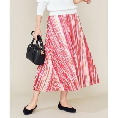 【クミキョク/組曲】 【洗える】シアーストライプ プリーツスカート