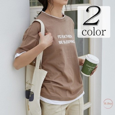 Tシャツ レディース カットソー 切り替え 半袖 トップス フェイクレイヤード 英字柄 2021春夏