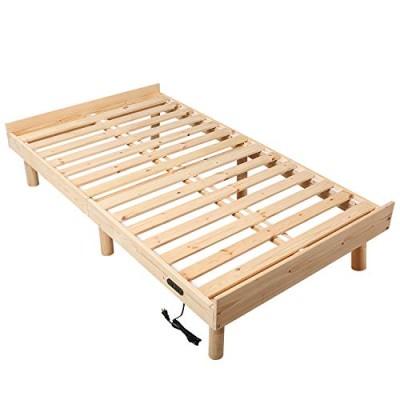 オススメ WLIVE すのこベッド ベッドフレーム シングルベッド コンセント付き 高さ3WAY調節 脚付き 天然木 耐久性抜群 通気性よく 耐荷重250kg 頑丈 シングル 北欧パイン シンプル