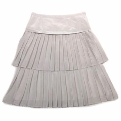 【中古】クリアインプレッション CLEAR IMPRESSION シフォン プリーツ ティアード スカート ハーフ 膝丈 1 グレー!2