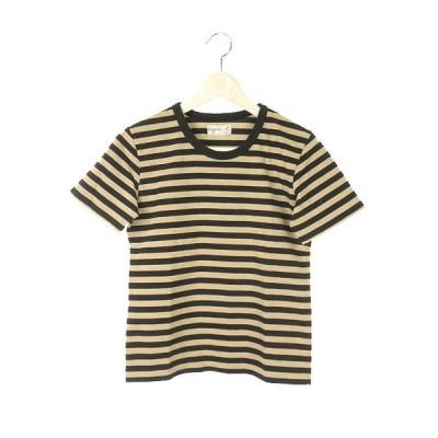 【中古】アニエスベー agnes b. ボーダー Tシャツ 半袖 カットソー トップス ベージュ ブラック レディース 【ベクトル 古着】