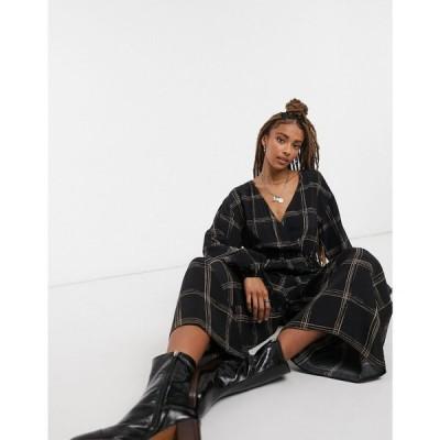 エイソス ASOS DESIGN レディース オールインワン ジャンプスーツ ワンピース・ドレス Smock Wrap Jumpsuit In Dark Check Print