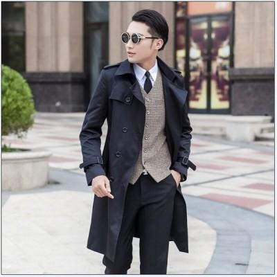 スプリングコート メンズ トレンチコート ビジネスコート 通勤コート ジャケット カジュアル 春アウター フォーマル