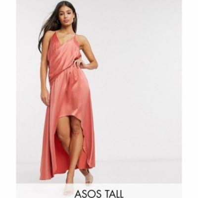 エイソス ASOS Tall レディース ワンピース ミドル丈 ワンピース・ドレス ASOS DESIGN Tall minimal drape satin midi dress ラスティッ