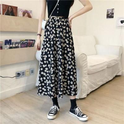 ハイウエスト 花柄 ロングスカート レディース 韓国ファッション オルチャン 可愛い