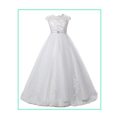 Sarahbridal Lace Tulle Beaded Princess Party Dress Flower Girls Wedding Dresses with Sleeve White US8並行輸入品