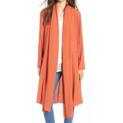 ファッション 衣類 Line+Dot NEW Orange Iglesia Shawl Collar Women Size Large L Long Coat