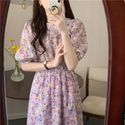 花柄 ワンピース ロング Aラインロングワンピース ロマンティック レトロ ラウンドネック パフスリーブ  ロングスカート 半袖 ドレス