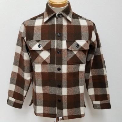 A BATHING APE アベイシングエイプ 長袖 シャツ、ブラウス Shirt, Blouse ウール チェックシャツ 厚手 長袖シャツ サル顔エルボーパッチ 日本製 10018259