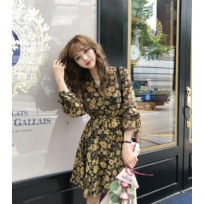 大きいサイズ ワンピース 花柄 シフォン Vネック ひざ上丈 フレア 七分袖 レトロ ガーリー 大人可愛い 韓国 オルチャン